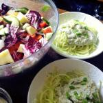 Raw Fetuccine Alfredo and Big Salad