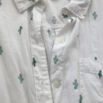 Close Up Of White With Cactus Long-Sleeved Shirt
