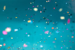 Glitter in the air for a party and fun