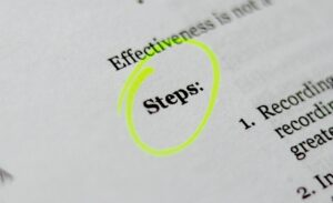 Paper with the word 'Steps' ciricled