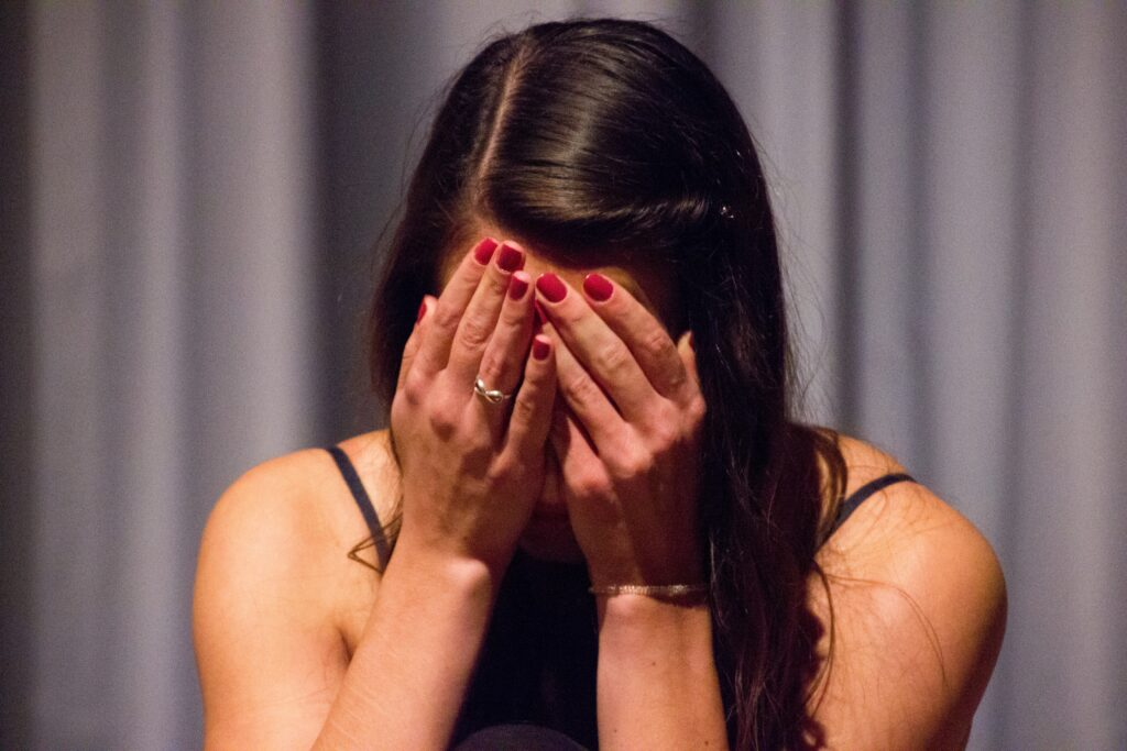 A woman made embarrassed by others